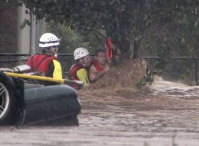 A man is rescued during flash flooding in Toowoomba, Australia.