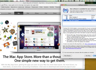The new Mac App Store can be downloaded as part of a traditional software upgrade for users of the Snow Leopard (10.6) Mac operating system.