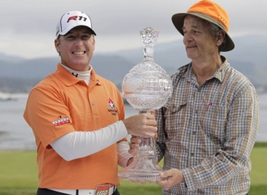 Comedian Bill Murray and D.A. Points claim their prize at the AT&T National Pro-Am