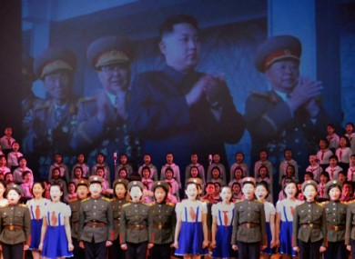 An image of Kim Jong Un, son of Kim Jong Il, is projected on a screen during celebrations for the elder Kim's 69th birthday on 14 February.
