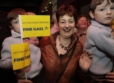 Fine Gael supporters cheer Enda Kenny in Castlebar, Co Mayo, this evening.