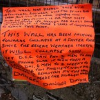 Unsigned notice posted along area of wall weeks before it collapsed. (via @irishstu)