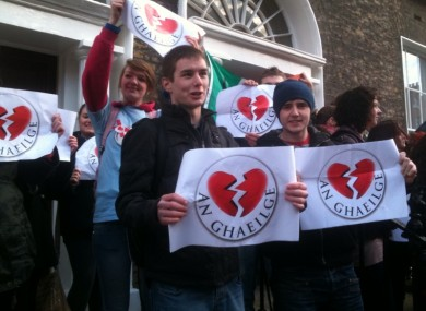 Irish language students protest across from FG headquarters at lunchtime today