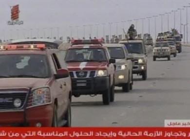 Bahrain TV screen grab showing Saudi troops arriving in Bahrain yesterday.