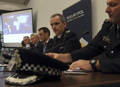Australian, UK and Euorpol police at a press conference in the Hague today to announce the arrests.