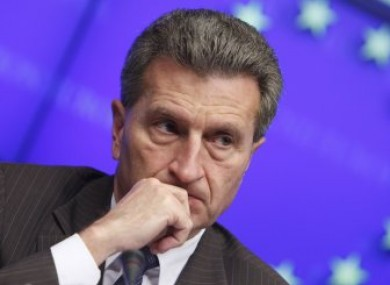 EU Energy Commissioner Guenther Oettinger at a media conference today in Brussels.