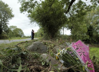 People at the scene on the N72 road near Killarney where four teenagers were killed and a fifth left fighting for his life in an early morning car crash in August 2010.