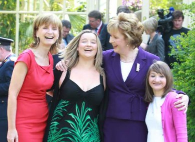 Adi Roche (in red) and President McAleese with Anna Gabriel and Raisa Carolan from Chernobyl.