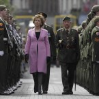 President McAleese inspects the guard of honour.