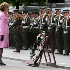 President Mary McAleese lays a wreath.