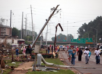 Homes and businesses along McFarland Blvd. are completely destroyed in Tuscaloosa, Alabama on Wednesday.