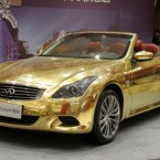 A gold-plated Infiniti G37 car is displayed at a jewellery shop in Nanjing in east China. Pic: Dong Jinlin/Color China Photo/AP Images.