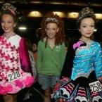 Three girls tiara-ed up to compete at the World Irish Dancing Championships in Dublin this week. Image: Eamonn Farrell/Photocall.