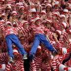 A crowd of people dressed as 'Where's Wally' in Dublin for the launch of the Where's Wally World Record bid as part of the Street Performance World Championship in Cork, Portlaoise and Dublin this June. Image: Julien Behal/PA Wire.