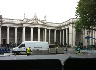 Work gets underway in College Green, central Dublin today.