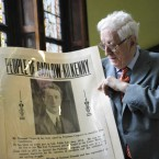 Garret FitzGerald views a 1932 election poster for his father's campaign at the National Library of Ireland in April 2009. (Sasko Lazarov/Photocall Ireland)
