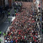 Aerial photo looking down Dame Street towards Christchurch today. (Image: @rtenews)