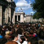 Crowds surround the stage at College Green. (Image: @gavreilly)
