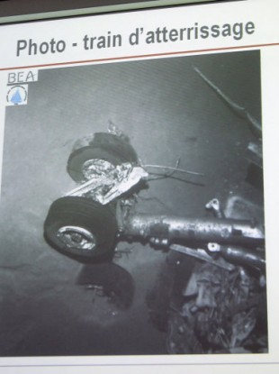A picture of the crashed Air France flight 447 landing gear shown at a press conference in April 2011.