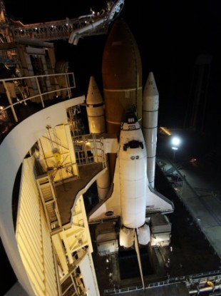 NASA image of the Endeavour shuttle sitting on the launch pad on Friday.