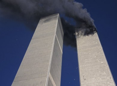 File photo showing smoke billowing from the North Tower of the WTC in New York on 11 September, 2001.