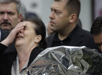 3 May 2011: Bosnian Serb woman Bogdana Tomovic weeps for her late son Zdravko Tomovic during a commemoration ceremony for victims of a 1992 attack by Bosnian militia in Sarajevo.