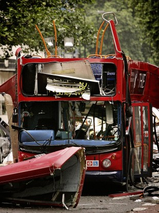 The number 30 double-decker bus in Tavistock Square, London, which was destroyed by a terrorist bomb on 7/7