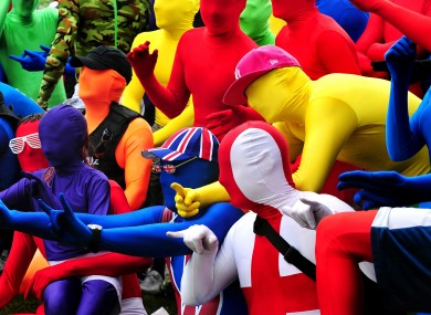 People wearing morphsuits at Drayton Manor Park, Staffordshire, during a failed attempt to beat the current Guinness World Record for the most people wearing morphsuits.