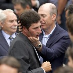 Former Ryder Cup playing partner Jose Maria Olazabal, center left, is comforted after the service. <span class=