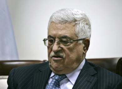 Palestinian President Mahmoud Abbas in his office in the West Bank city of Ramallah
