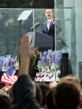 US President Barack Obama addresses the crowds at College Green in Dublin.