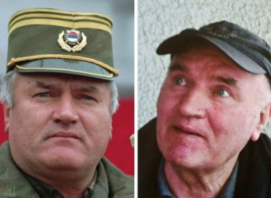 Composite photograph showing Mladic on the left in 1995 as he addressed his troops; and on the right, around the time of his arrest this week.