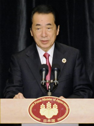 Naoto Kan, prime minister of Japan, addresses reporters at the weekend's G8 summit. Kan faces a motion of no confidence in his leadership this week.