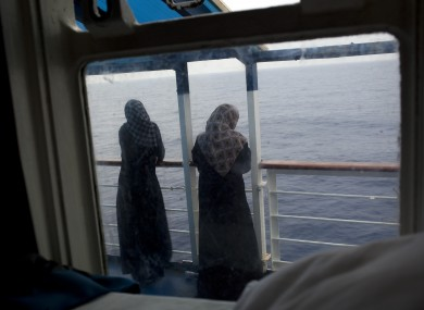 Women look out over the Mediterranean sea from the Azzurra passenger ferry during a trip from Misrata to Benghazi, Libya on Saturday.