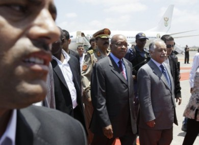 South African President Jacob Zuma, centre, arriving in Tripoli, Libya, today.