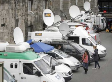 The world's media set up their OB vans at Dublin Castle ahead of the visit of Queen Elizabeth, which begins tomorrow.