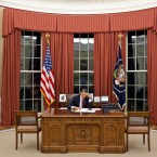 Obama prepares his remarks before speaking to the nation and the world.