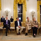 James Clapper, director of national intelligence; national security advisor Tom Donilon; CIA director Leon Panetta; Admiral Mike Mullen, chairman of the Joint Chiefs of Staff; Secretary of State Hillary Rodham Clinton, and vice-president Joe Biden watch as Barack Obama tells the public about the death of Osama Bin Laden.