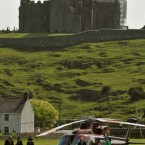 Queen Elizabeth II and the Duke of Edinburgh, second right, arrive at the Rock of Cashel. (Pic: Maxwells)