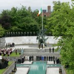 After enjoying a lunch (we're told she had boxty), the President and the Queen travel to the Garden of Remembrance in Parnell Square. (Pic: Maxwells)