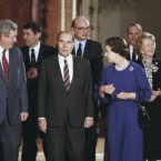 The late Garret FitzGerald is seen here on the far left of the picture speaking to Queen Elizabeth II at a meeting of the leaders of EC nations at Buckingham Palace in 1986. French President Francois Mitterand and British Prime Minister Margaret Thatcher are also seen in the picture. (Pic: Michael Lipchitz/AP/Press Association Images)