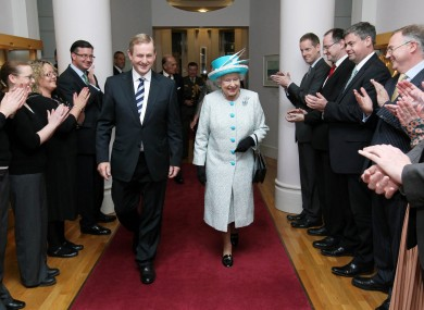 The Queen arrives at Government Buildings today with Taoiseach Enda Kenny