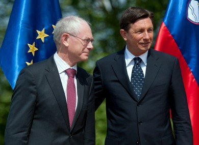 Herman Van Rompuy (L) has told Slovenia's Prime Minister Borut Paho that pension reform is needed.