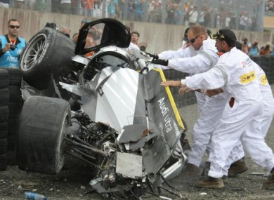 Allan McNish's Audi No 3 after it crashed out yesterday.