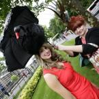 Racegoer Jenny Munklik wears a black swan style hat<span class=