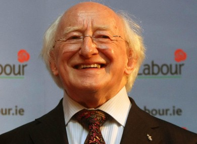 Michael D Higgins smiles after winning the contest.
