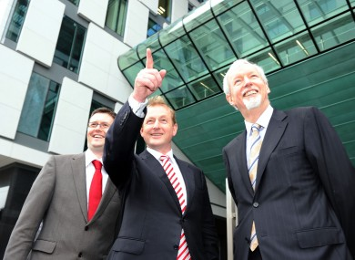 Taoiseach Enda Kenny with Provost, Dean of Research, Dr David Lloyd and Dr John Hegarty