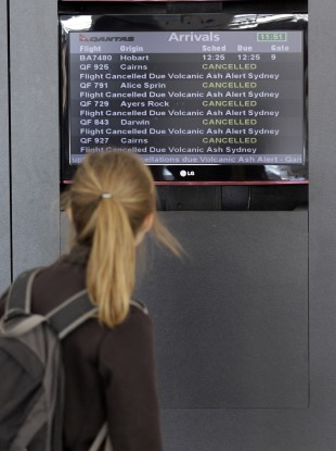 Checking the status of flights at Sydney Airport