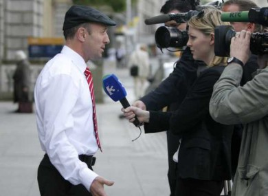 Independent TD Michael Healy-Rae talks to the media outside Leinster House today