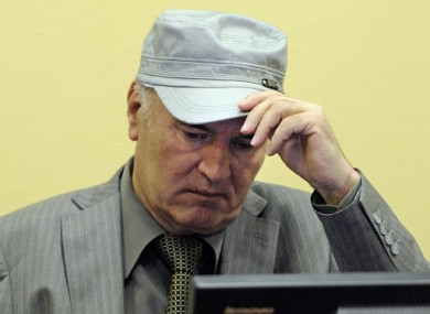 Former Bosnian Serb general Ratko Mladic appearing in the war crimes tribunal at The Hague on 2 June 2011.